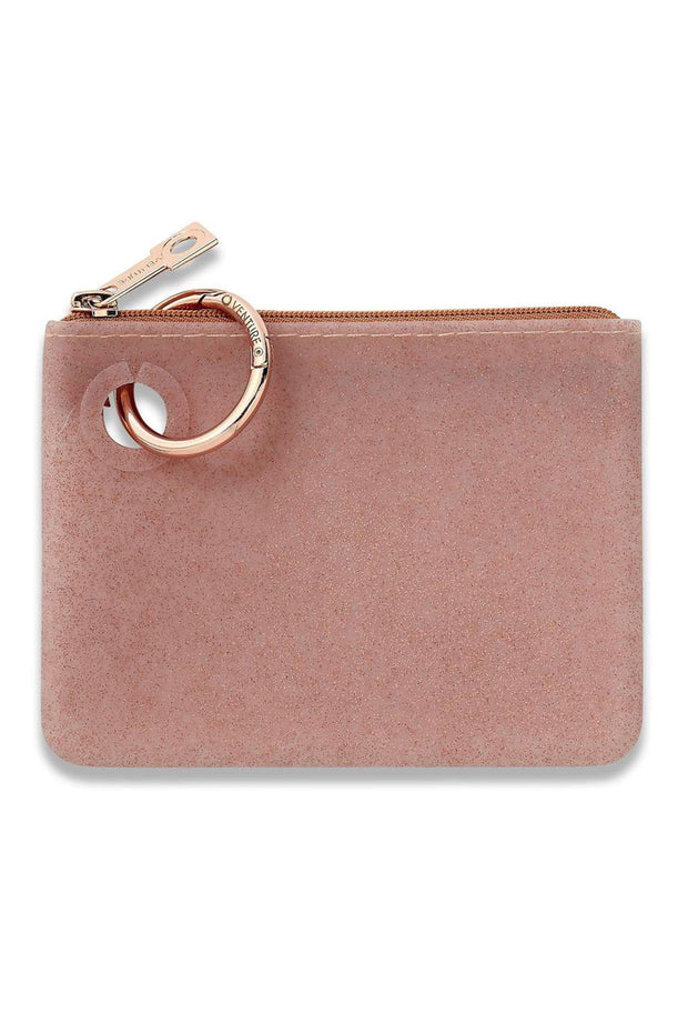 O-Venture Mini Silicone Pouch in Rose Gold Confetti, rose gold mini silicone id key pouch