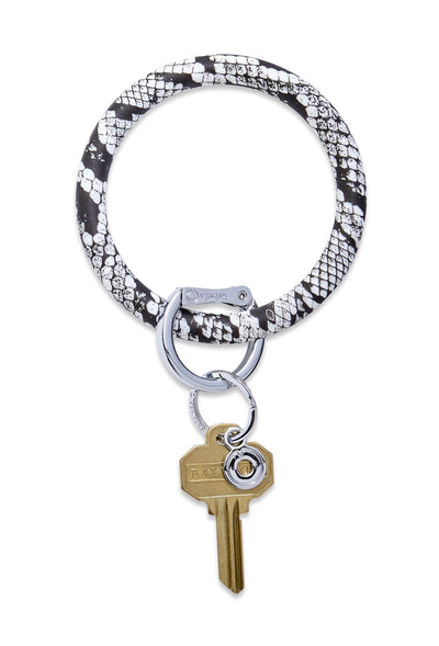 O-Venture Silicone Key Ring in Tuxedo Snakeskin, black and white snake print key ring