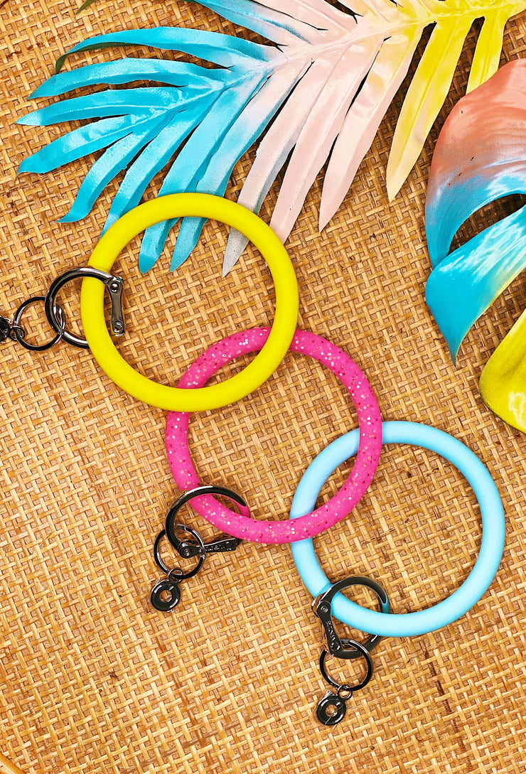 O-Venture Silicone Key Rings in Yes Yellow, Tickled Pink Confetti and Sweet Carolina Blue