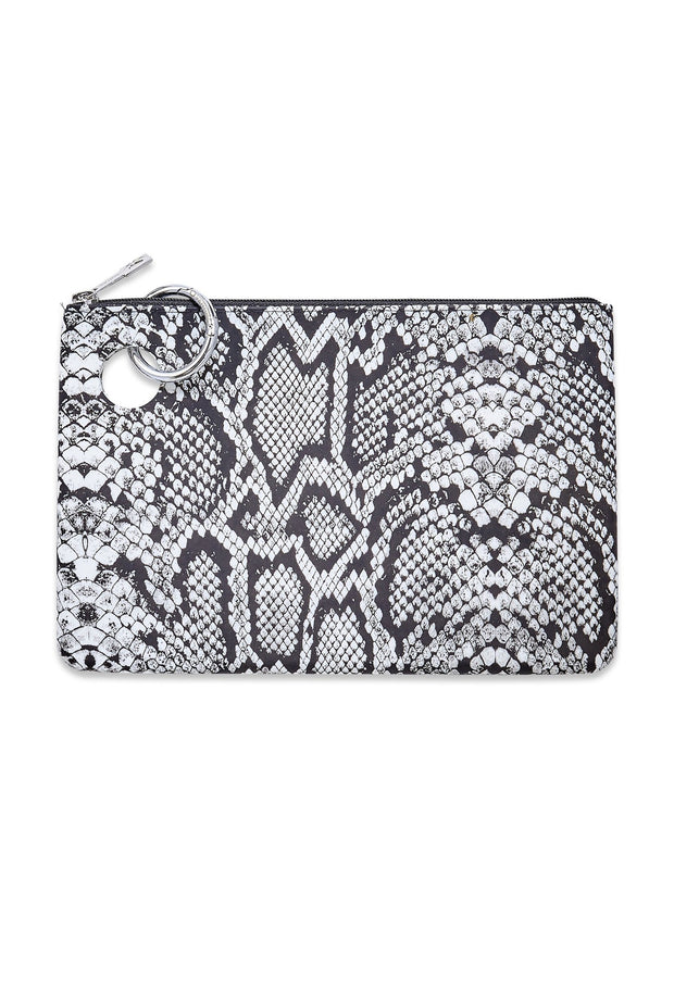 O-Venture Large Silicone Pouch Tuxedo Snakeskin, black and white snakeskin silicone clutch