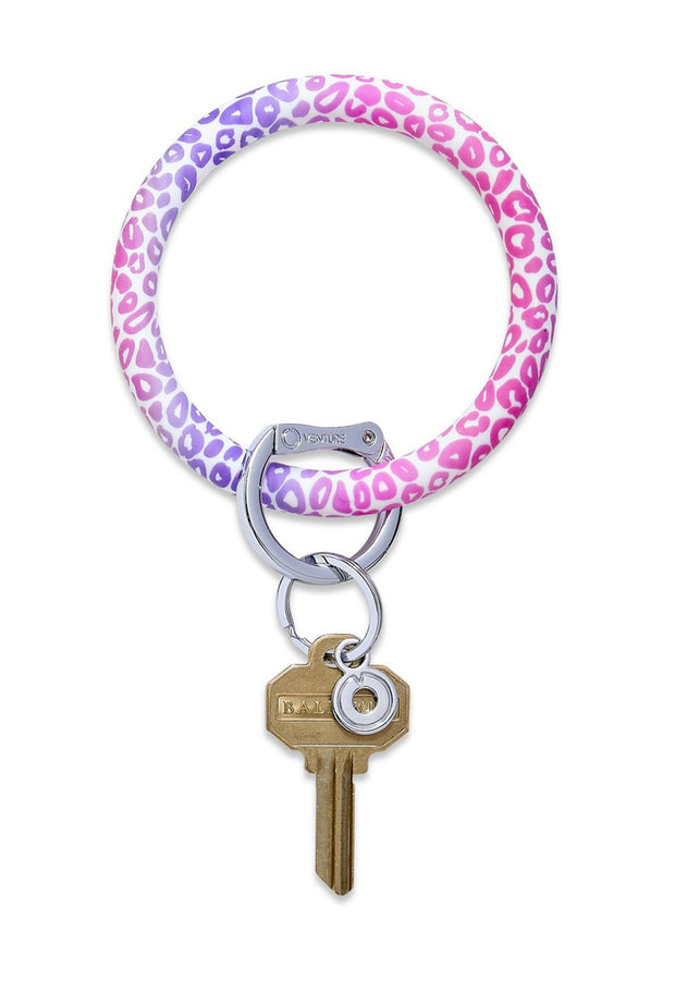 O-Venture Silicone Key Ring Pink Cheetah, pink and purple cheetah print key ring
