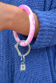 O-Venture Silicone Key Ring in Tickled Pink Marble