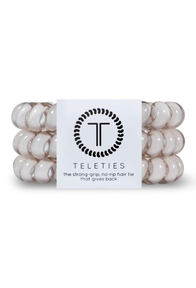 TELETIES Large Hair Ties - Oat, milky white coil hair tie