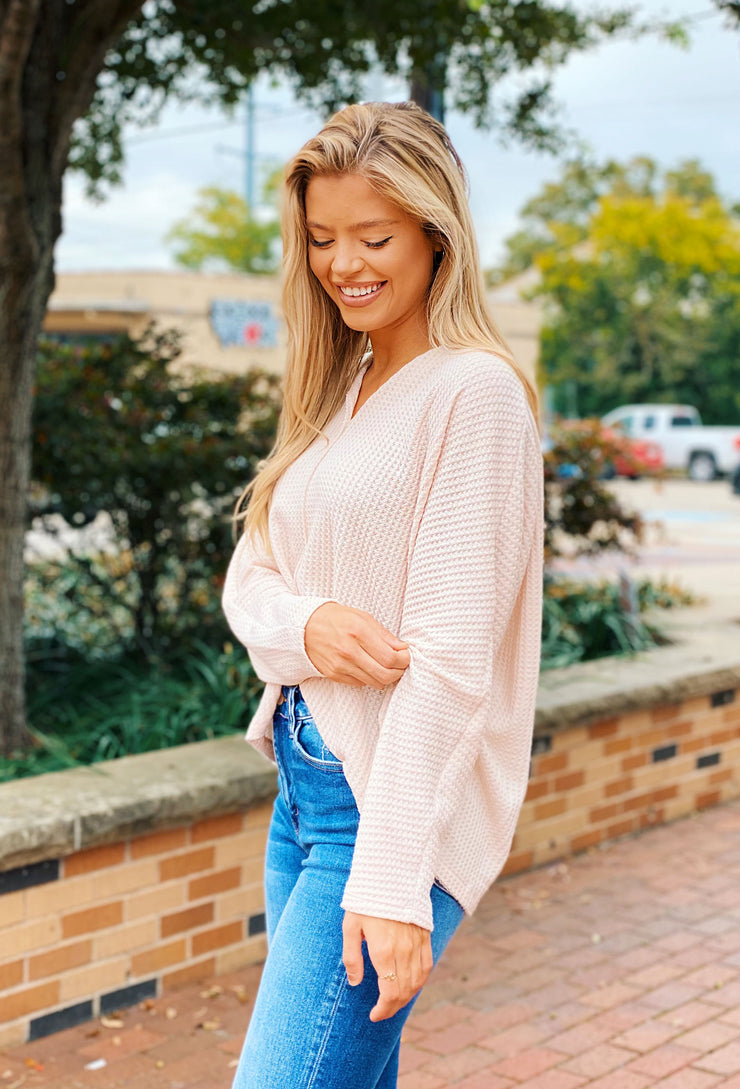 Oatmeal V-Neck Waffle Knit Top, off white v-neck waffle knit long sleeve top