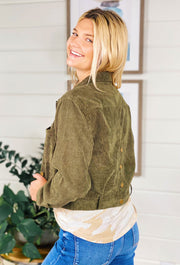 Olive Cropped Corduroy Jacket, moss green corduroy cropped jacket with brass hardware