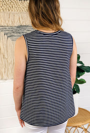 Out at Sea Striped Navy Tank, navy striped muscle tank with knot at the front
