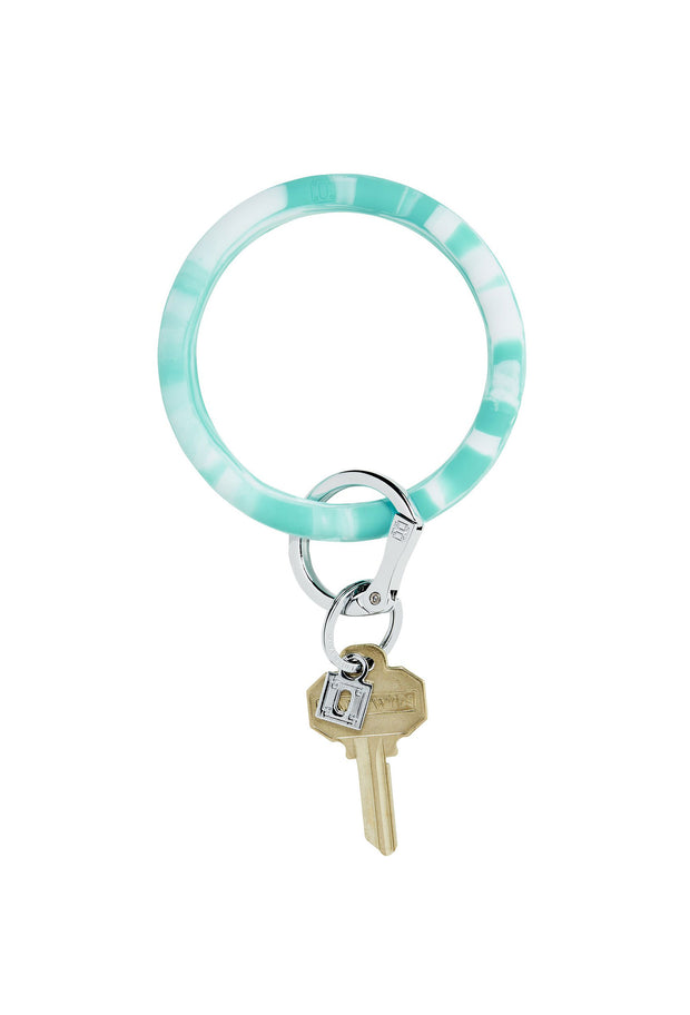 marbled turquoise key ring, silicone key ring, handsfree key ring