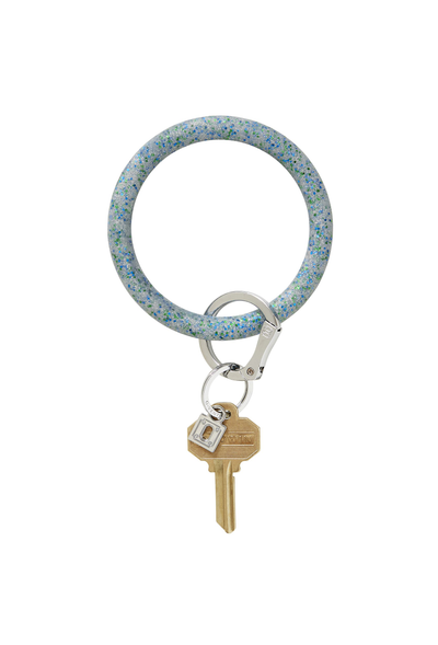 blue green and silver glitter, oventure silicone keyring in blue frost confetti,