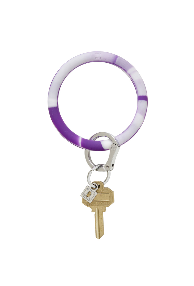 purple and white marble silicone, oventure silicone key ring in deep purple marble