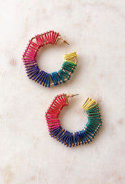Paige Rainbow Threaded Hoop Earrings, colorful hoops earrings, geometric threaded hoops