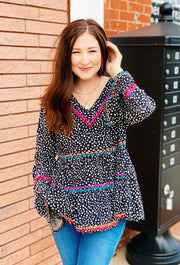 Paislee Embroidered Spot Top, black and white spotted top with colorful stitching and belle sleeves