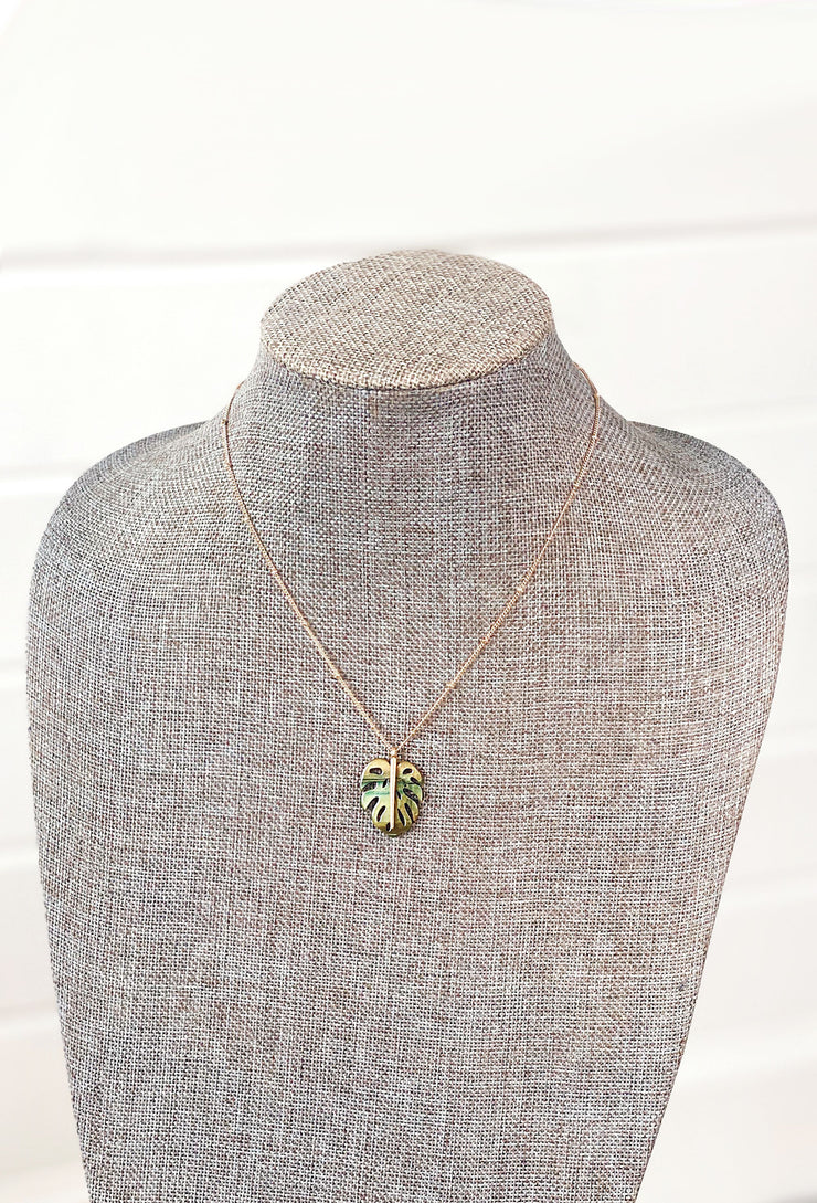 SO CAL Palm Necklace, gold beaded chain with green lucite palm charm