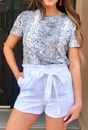 Paperbag Waist Shorts in White
