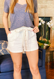 Paperbag Waist Shorts in White, white linen shorts