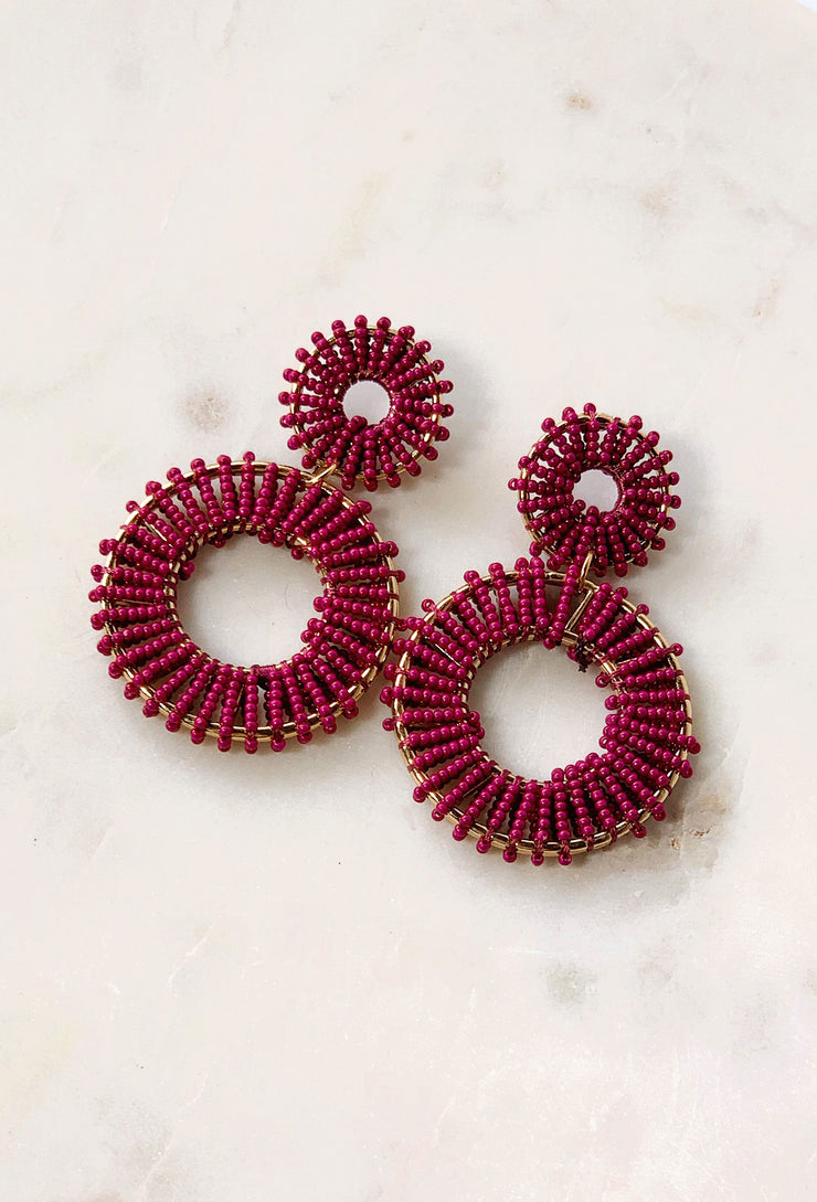 Payton Beaded Statement Earring in Burgundy, double hoop dangle statement with Burgundy beading