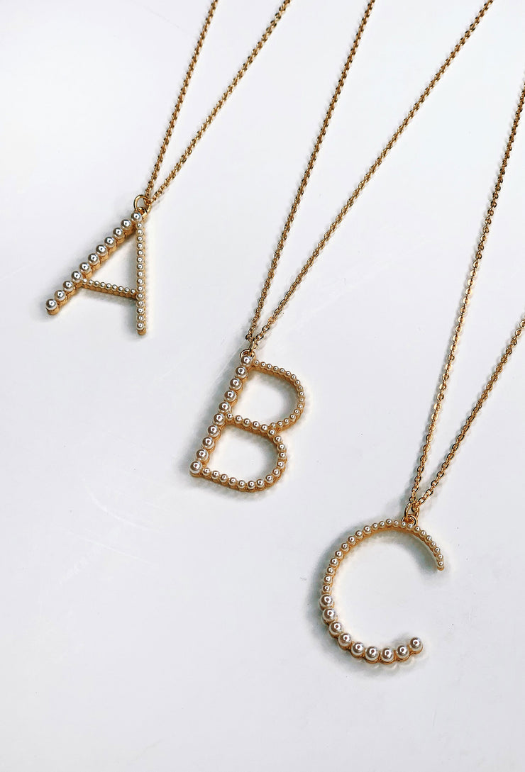 Pearl Block Letter Initial Necklace, pearl encrusted gold block letter initial necklace