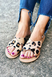 Pebble Leopard Slide Sandal