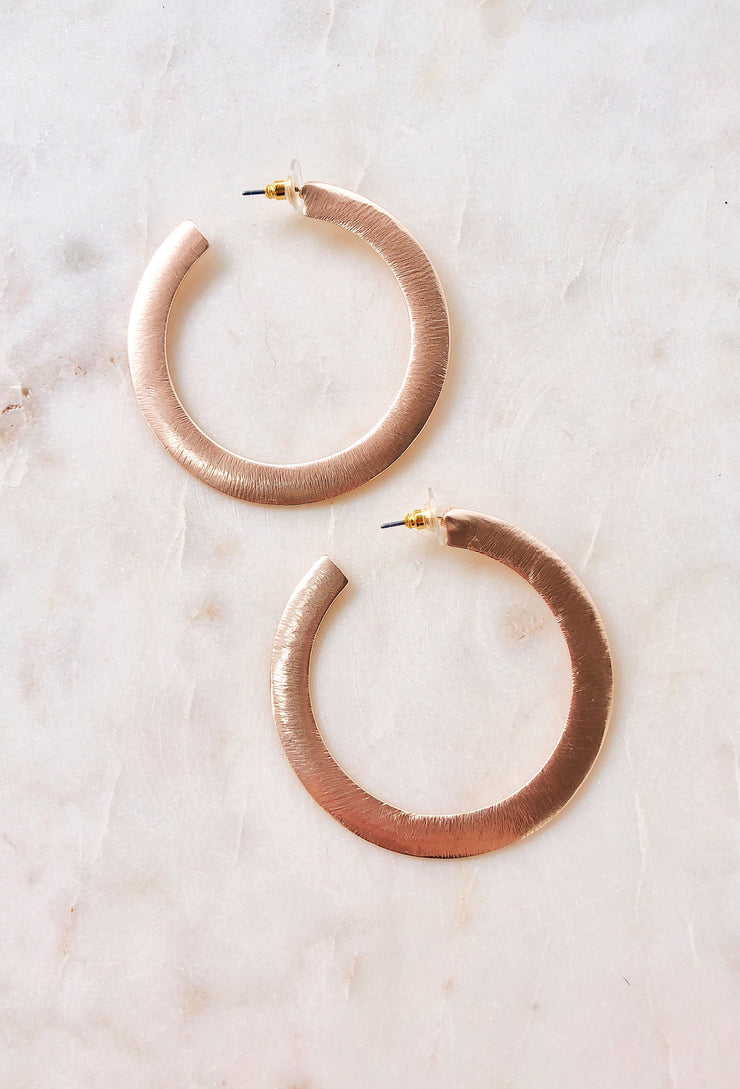 Penelope Hoop Earrings in Rose Gold