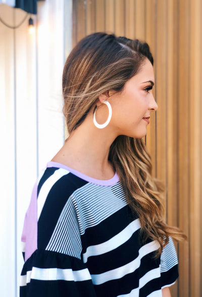 Penelope Hoop Earrings in Silver