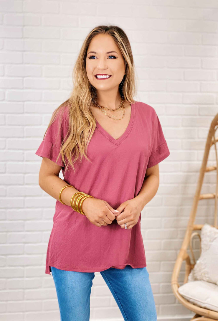 Perfect V-Neck Tee, basic v-neck t-shirt in mulberry