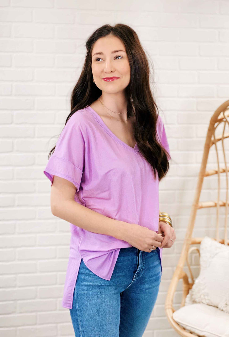 Perfect V-Neck Tee, basic v-neck t-shirt in orchid