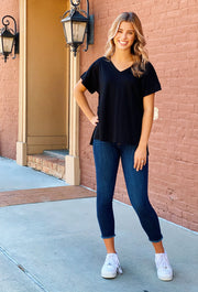 Perfect V-Neck Tee in Black, best basic black soft v neck t-shirt