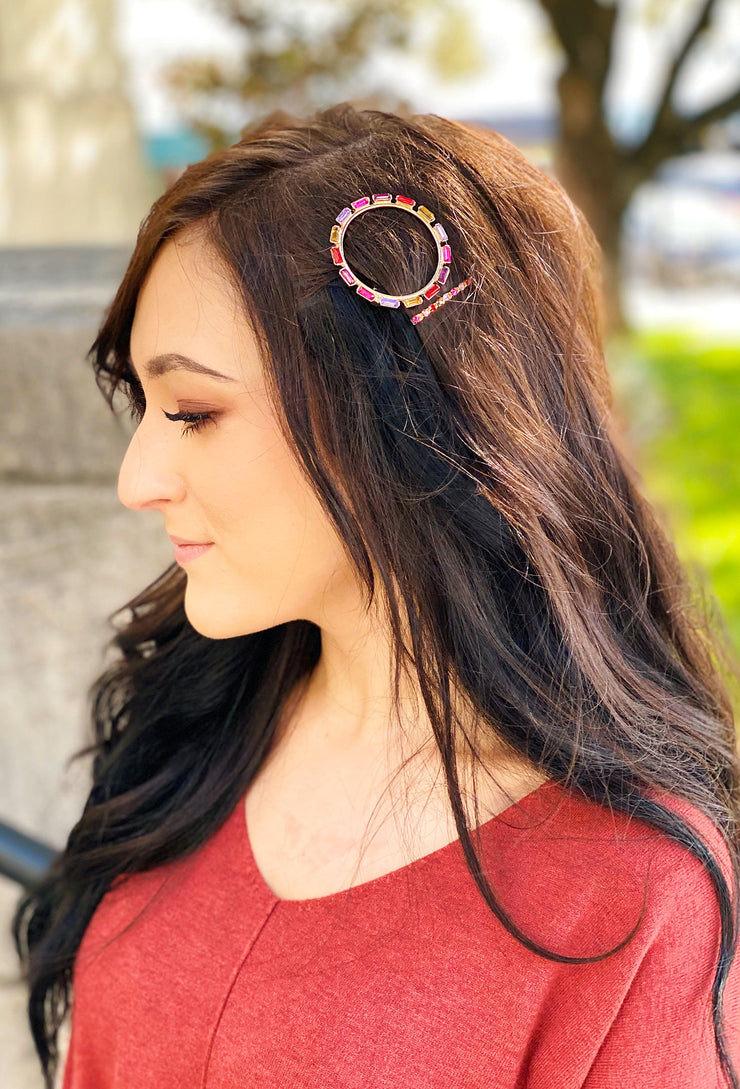 Jade Pink Crystal Hair Clip Set, one circle hair clip and one bobby pin both encrusted in pink tones jewels