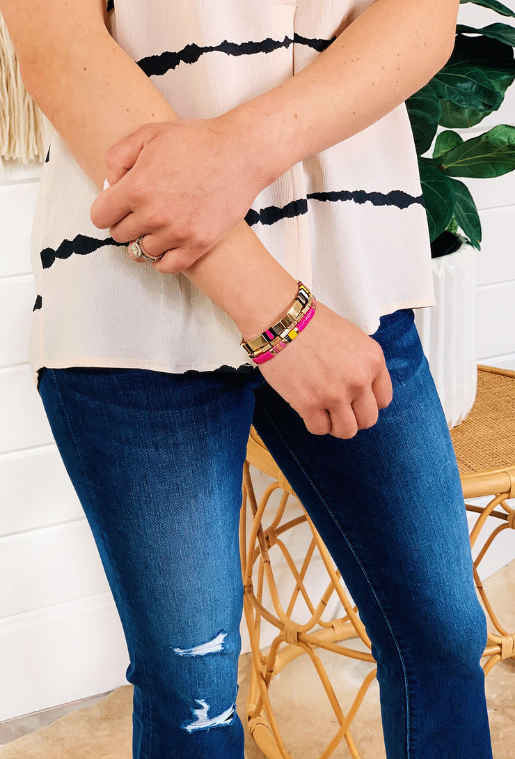 Roxie Enamel Bracelet Set Fuchsia, gold and pink enamel stretchy bracelet set