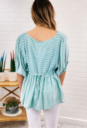 Pintuck Top in Seafoam, washed minty green  blouse with sewn pin tuck pleats in the but