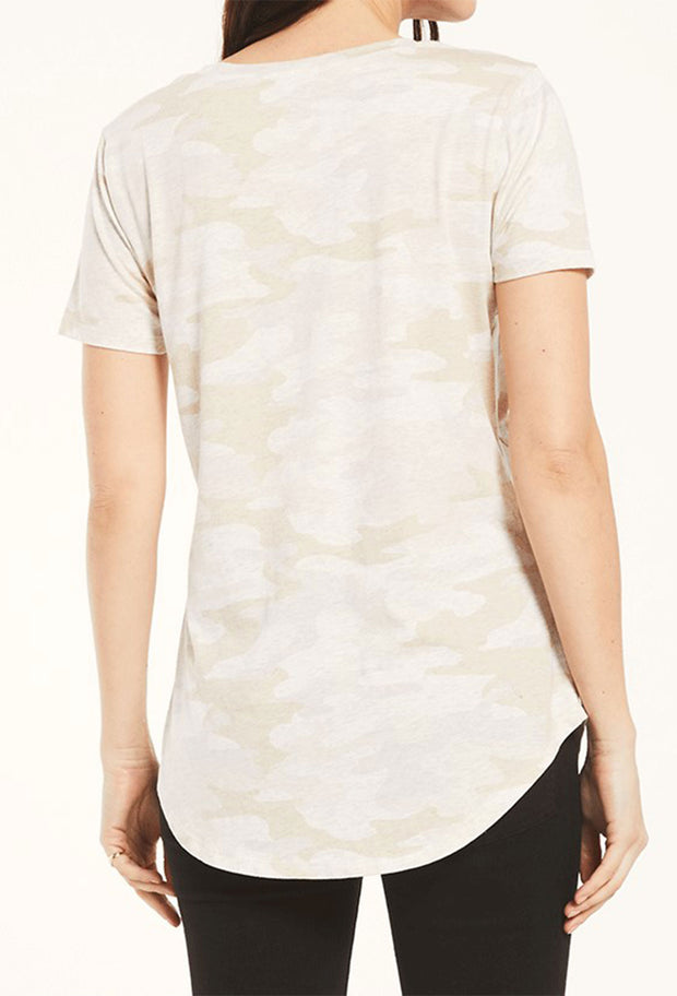 Z SUPPLY Camo Pocket Tee in Light Oatmeal, light cream oatmeal camo relaxed fit pocket tee