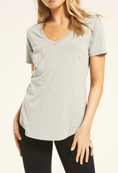 Z SUPPLY Pocket Tee in Sage Mist, light gray relaxed fit pocket tee