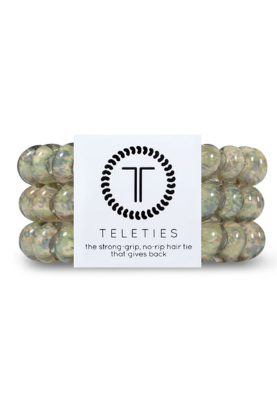 TELETIES Large Hair Ties - Precious Cargo, green mosaic coil hair ties