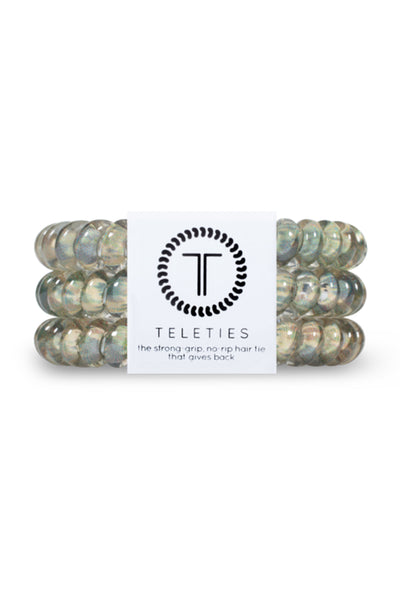 TELETIES Small Hair Ties - Precious Cargo, green mosaic coil hair tie