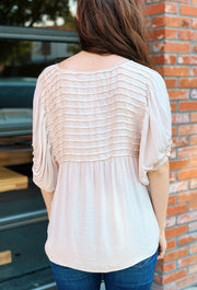 Pretty Pintucked Blouse in Champagne, ivory pin tucked pleated silky short sleeve blouse