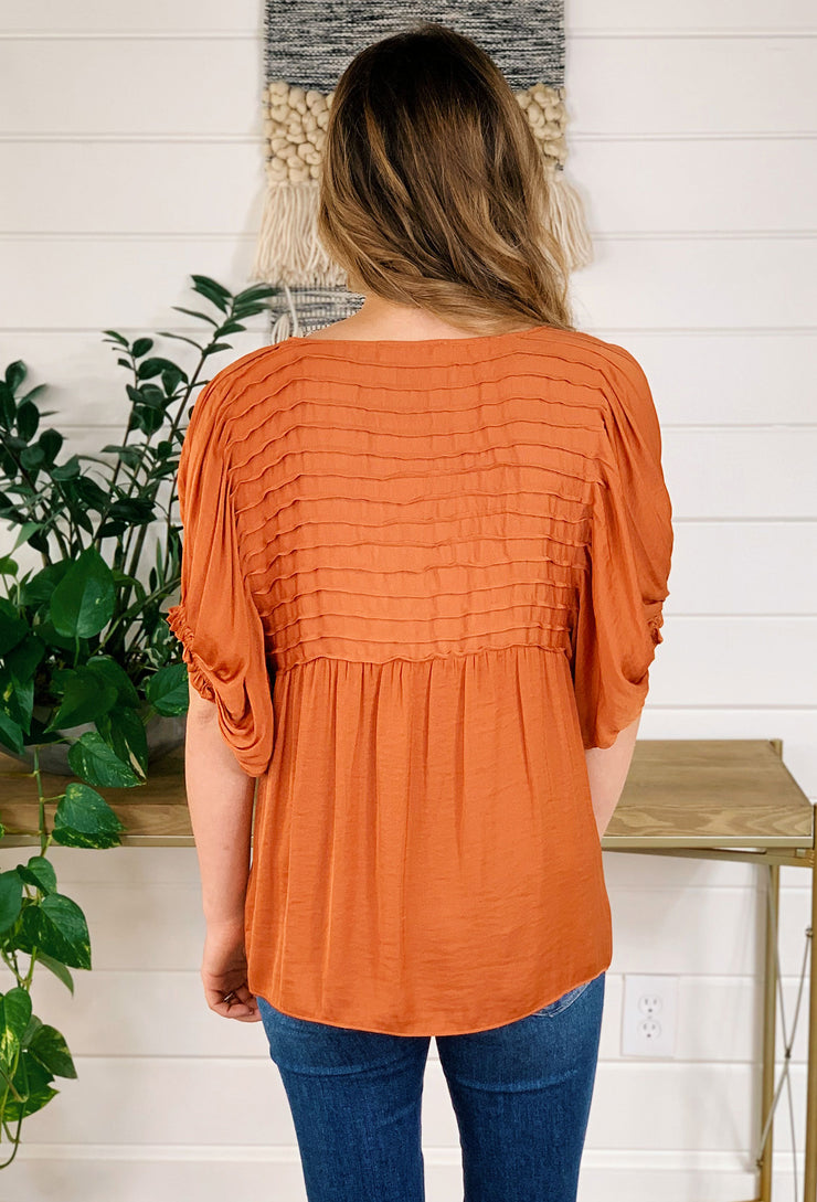 Pretty Pintucked Blouse in Pumpkin Spice, Orange rust pin tucked pleated silky short sleeve blouse