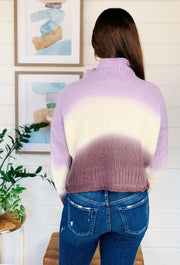 Purple Ombre Colorblock Sweater, ombre purple knit sweater with slight high cowl neck
