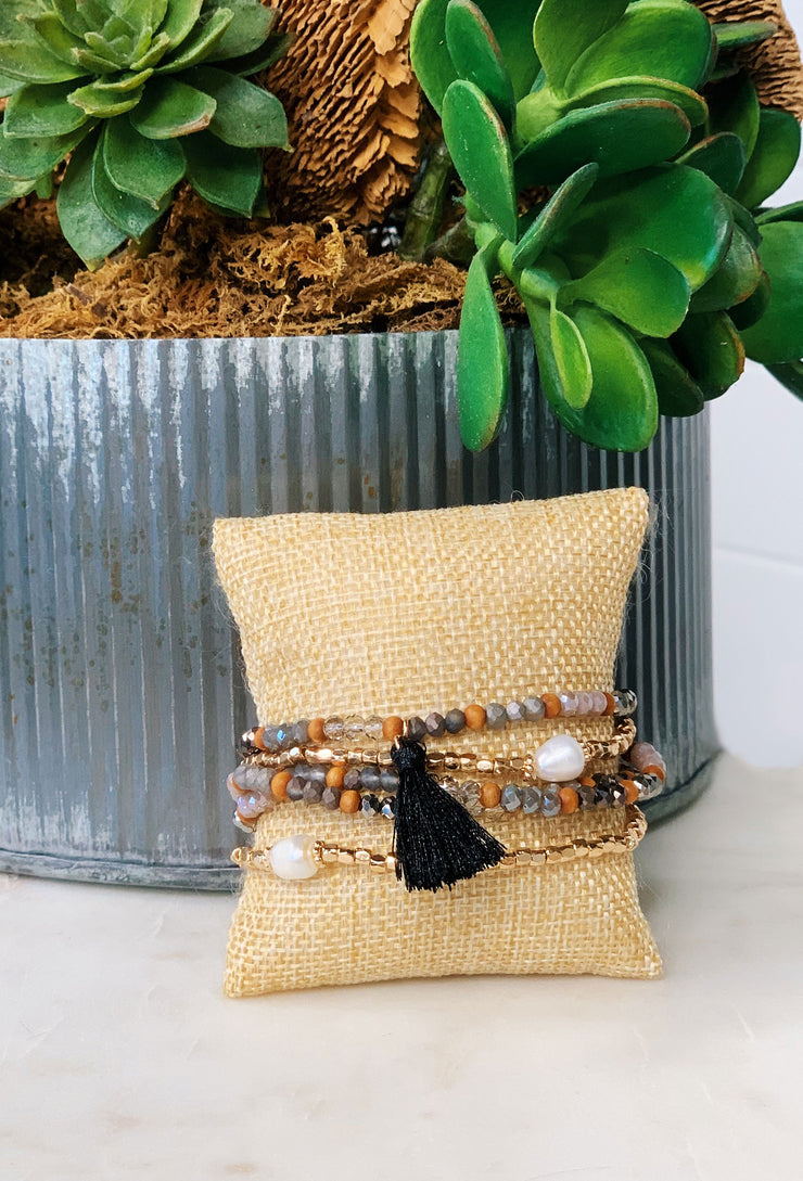 Quinn Bead & Pearl Bracelets, neutral brown earth tones bracelet set with 2 pearl beads and black tassel charm