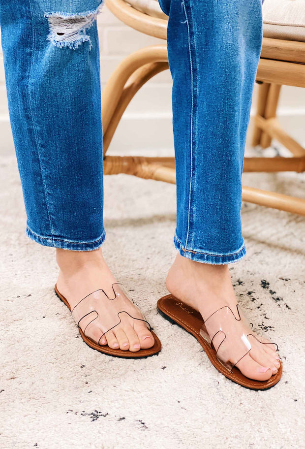 Qupid Athena Sandals in Clear, clear slip on sandal slides