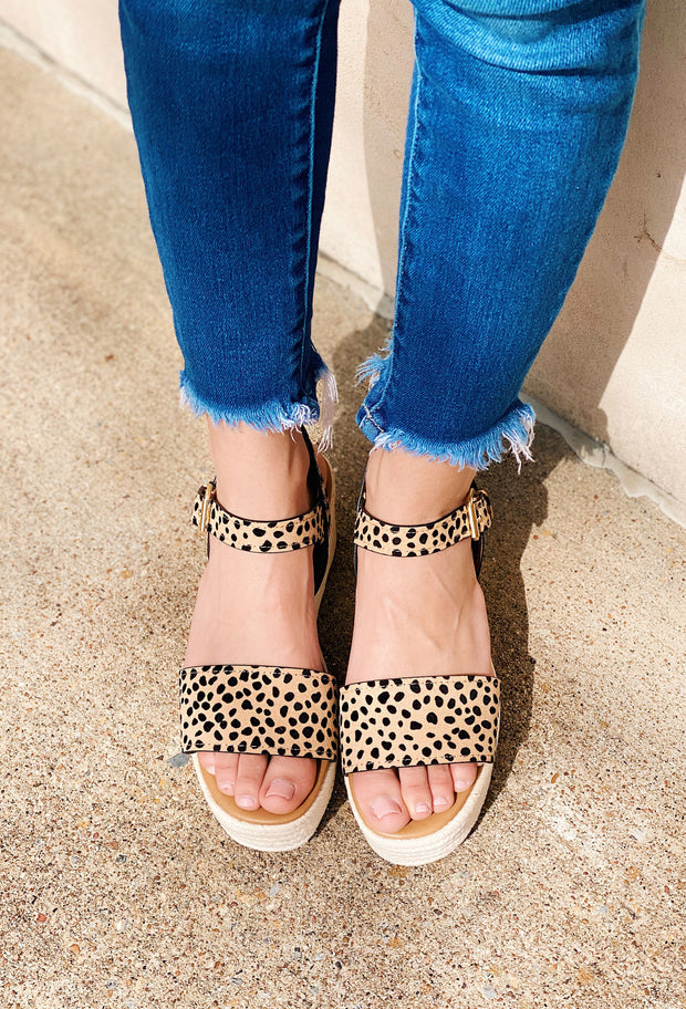 Big Bang Tan Black Leopard Single Band Wedge Sandals