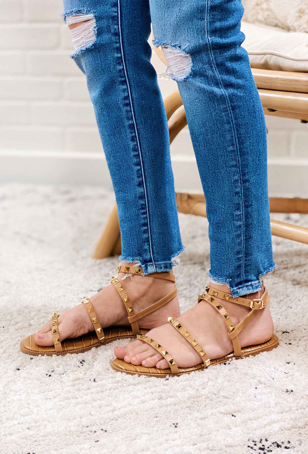 Qupid Desmond Strappy Studded Sandals, tan strappy sandals with gold studs