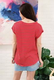 Red & White Striped Tee, red t shirt with white stripes