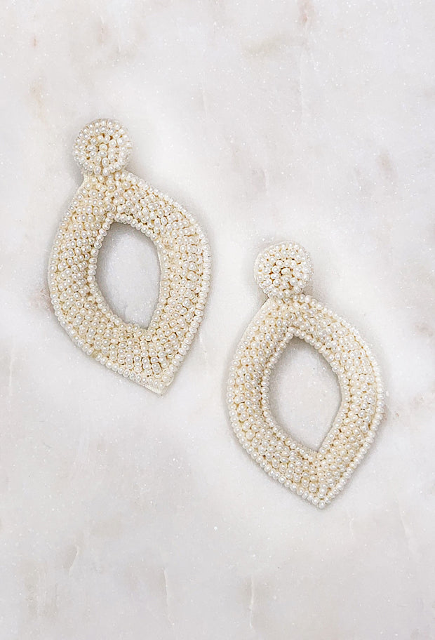Reese Beaded Statement Earring in Ivory, pointed diamond shaped lightweight beaded statement earring in the color ivory cream