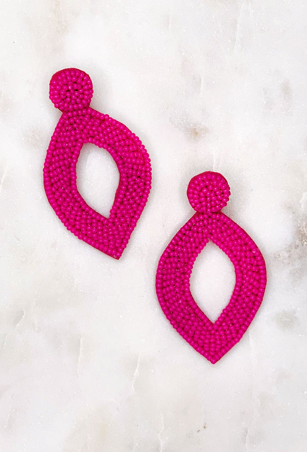 Reese Beaded Statement Earring in Fuchsia, pointed diamond shaped lightweight beaded statement earring in the color hot pink