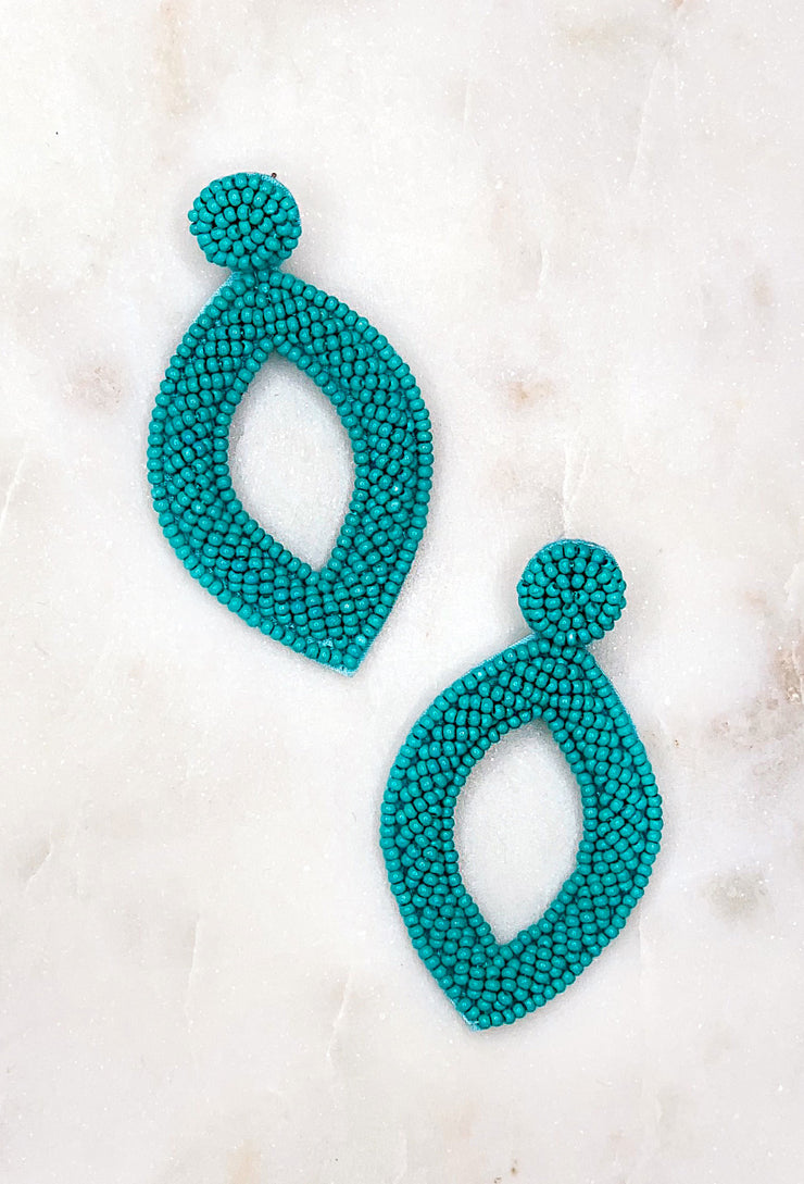 Reese Beaded Statement Earring in Turquoise, pointed diamond shaped lightweight beaded statement earring in the color turquoise