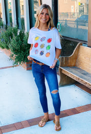 Friday + Saturday: Retro Football Crop Tee, white cropped tee with retro colorful footballs on the front