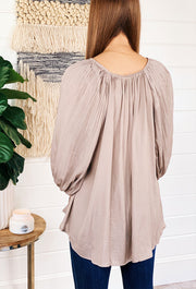 Rianne Taupe Accordion Sleeve Blouse, silk accordion pleated blouse with puff sleeves