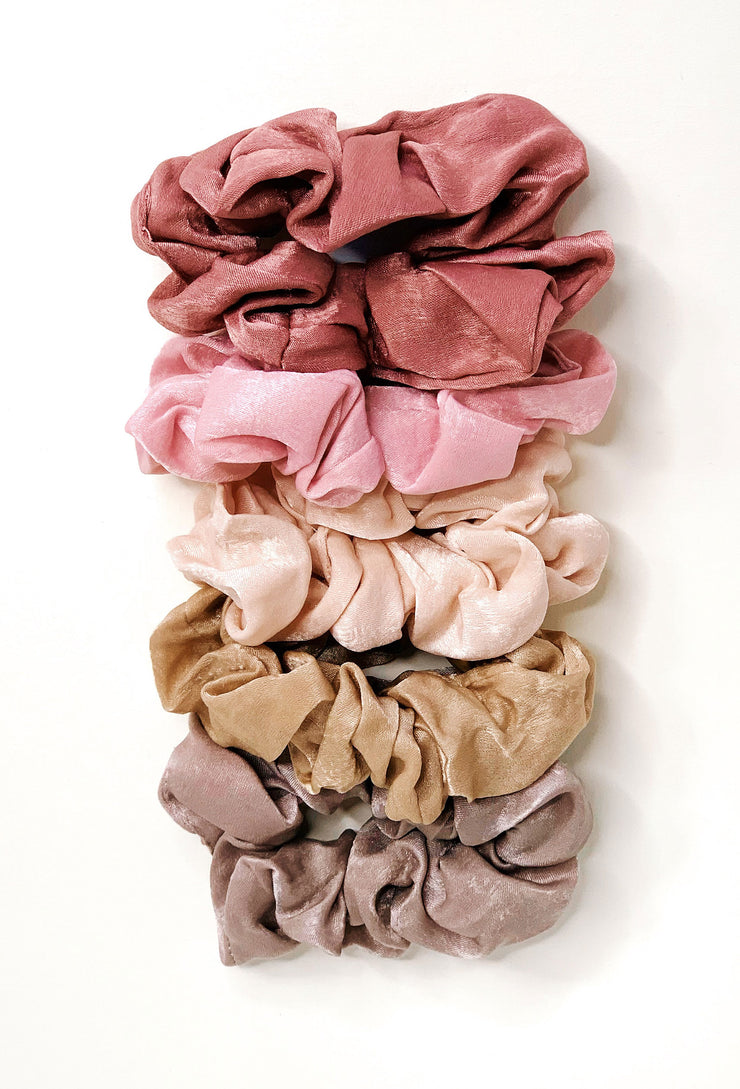 Rosey Posey Scrunchie Set, pink and nude scrunchie set of 5