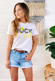 Rowan Rock and Roll T-Shirt, white tee with black and yellow rock & roll  graphic