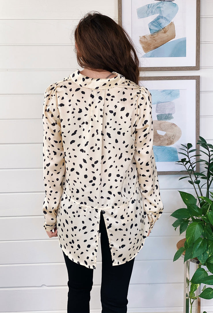 Roxana Spotted Button Up Blouse, silk cream blouse with black Dalmatian spots on it with collar