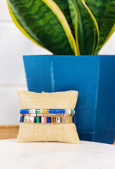 Roxie Enamel Bracelet Set Blue, gold and blue enamel bead stretchy bracelet set